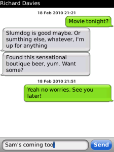 Screenshot of crunchsms, a better sms app for my blackberry.